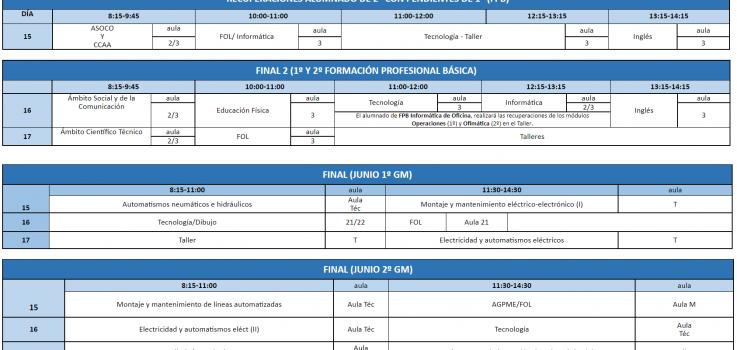 Calendario de exámenes finales junio 2021